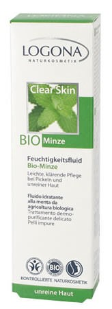 LOGONA klärendes Tag & Nacht Feuchtigkeitsfluid Bio-Minze & Salicylsäure aus Weidenrinde 30ml